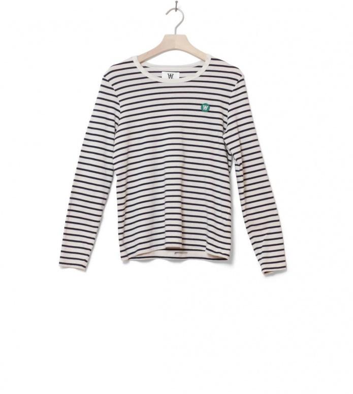 Wood Wood W Longsleeve Moa white off/navy stripes M
