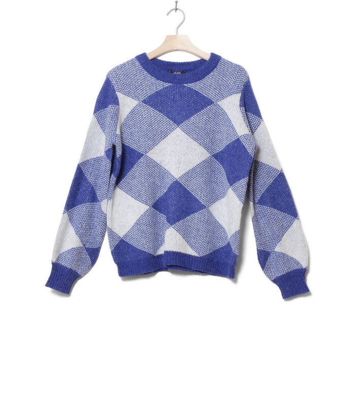 MbyM W Knit Pullover Helanor blue reflex lgm check S/M