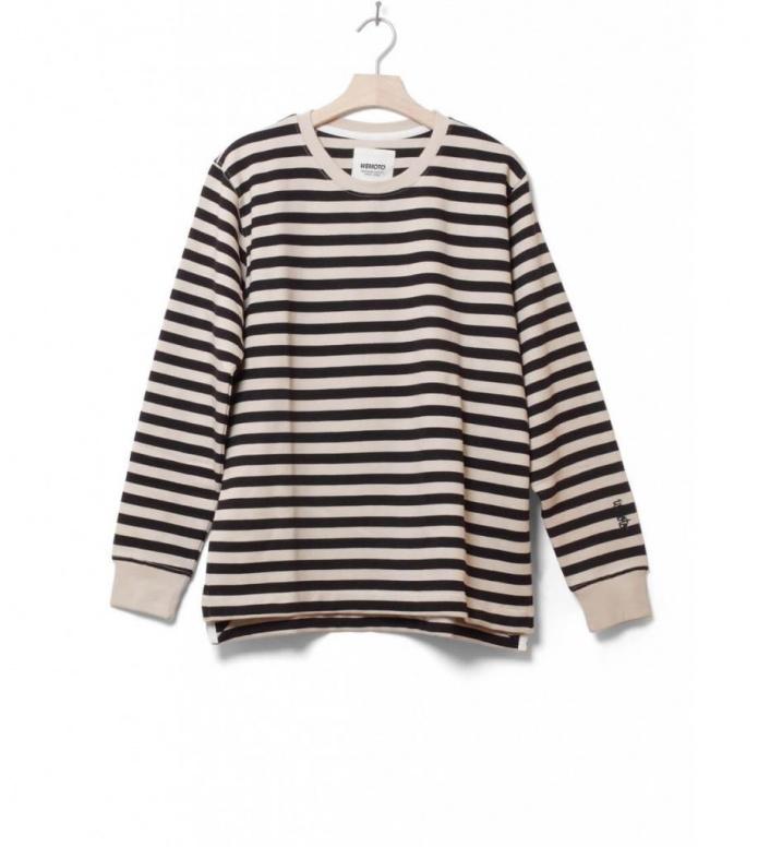 Wemoto Sweater Lawrence Stripe beige black-birch