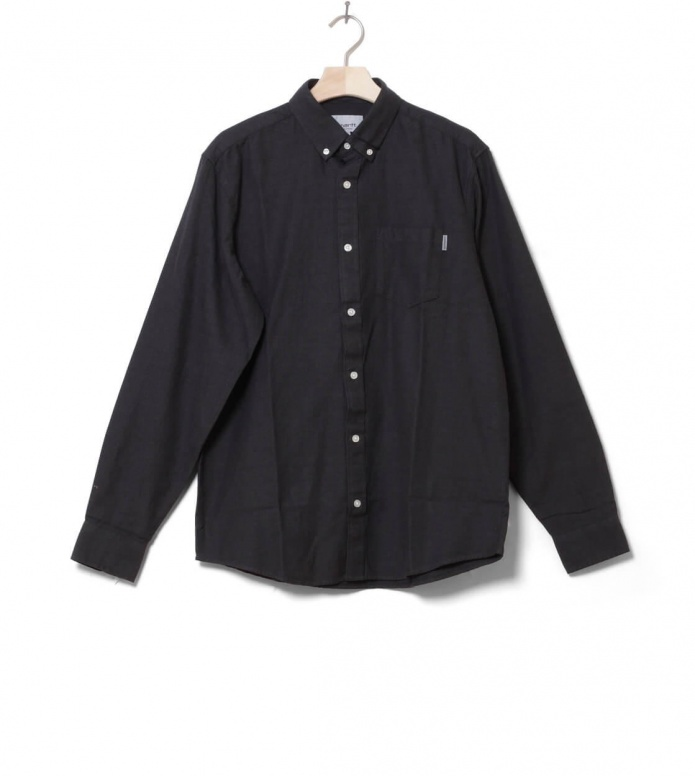 Carhartt WIP Shirt Dalton grey blacksmith heavy rinsed L