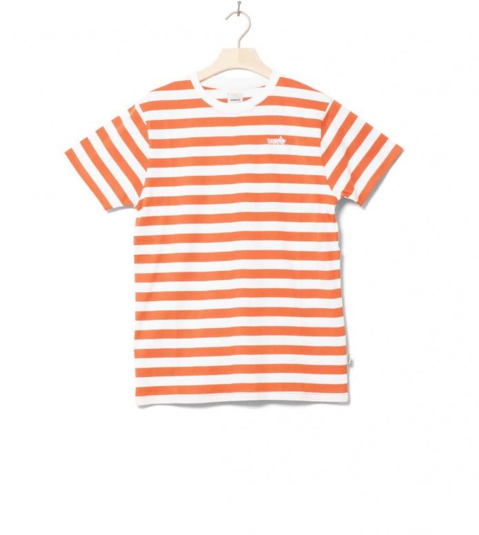 Wemoto T-Shirt Script Stripe orange emberglow-white S