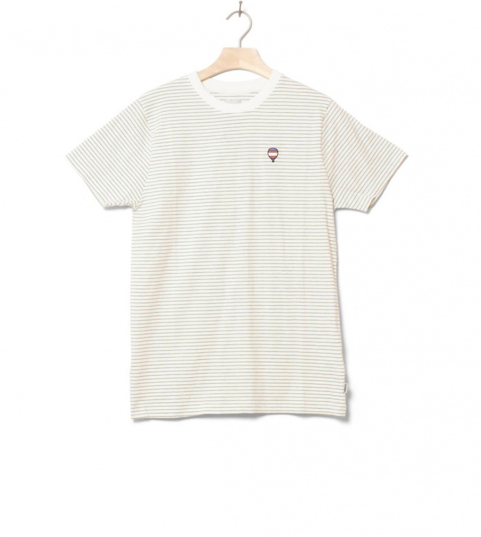 Wemoto T-Shirt Travel Striped white off heather