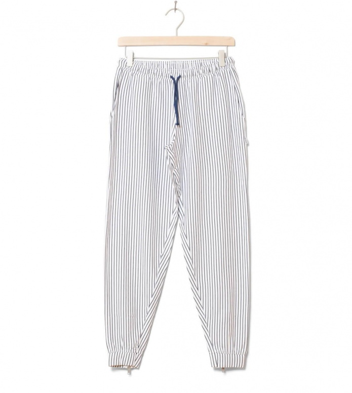 Wemoto W Pants Mia Striped white-navy blue XS