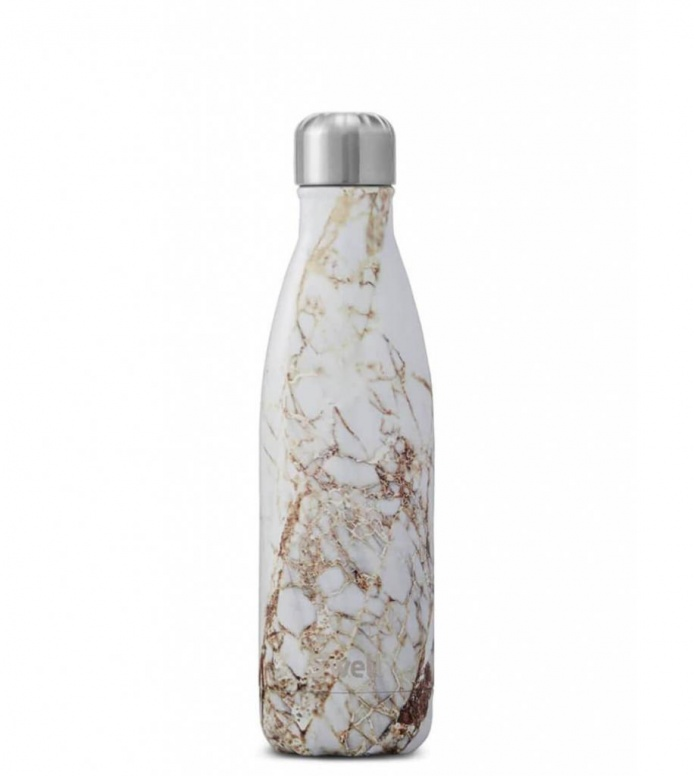 Swell Swell Water Bottle MD white elements calacatta gold