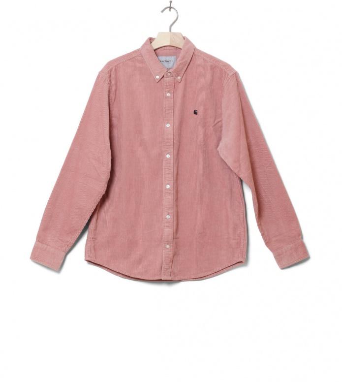Carhartt WIP Shirt Madison Cord pink blush/duck blue M
