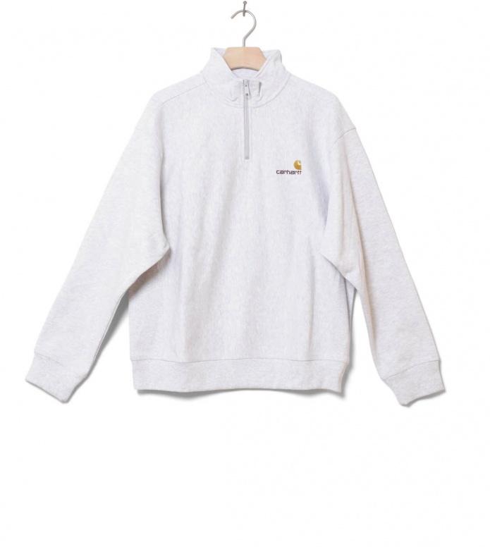 Carhartt WIP Half Zip Sweater American Script grey ash heather S