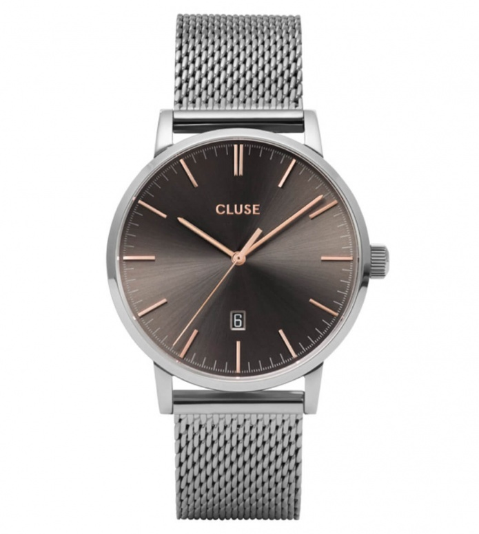 Cluse Cluse Watch Aravis Mesh silver/ dark grey silver