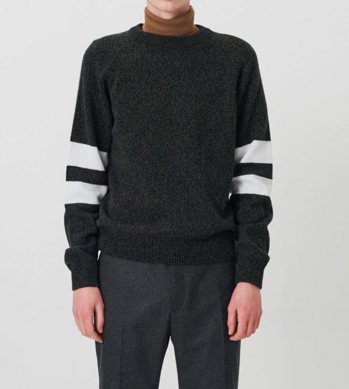 Wood Wood Wood Wood Knit Pullover August green mouline