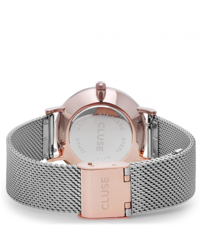 Cluse Cluse Watch Minuit Mesh silver/silver rose gold