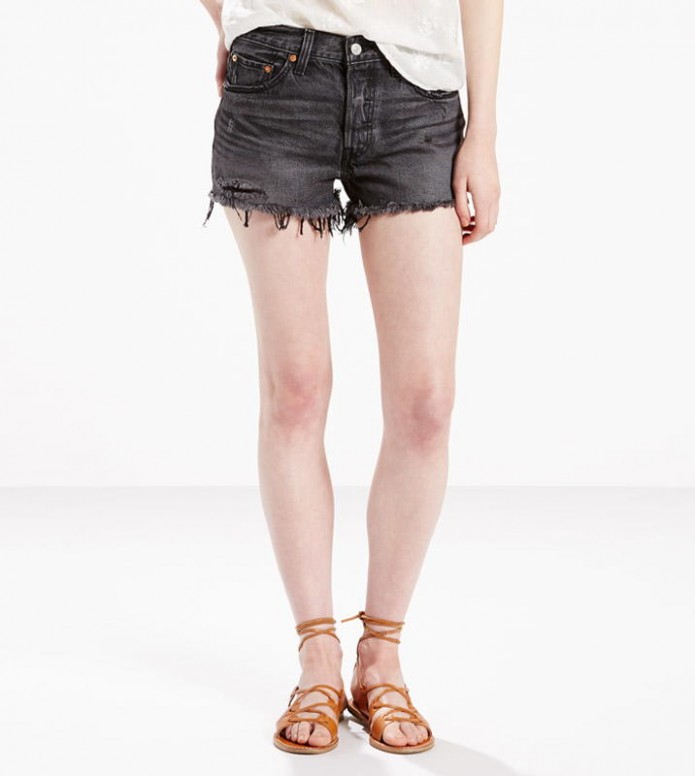 Levis Levis W Shorts 501 grey slashed black