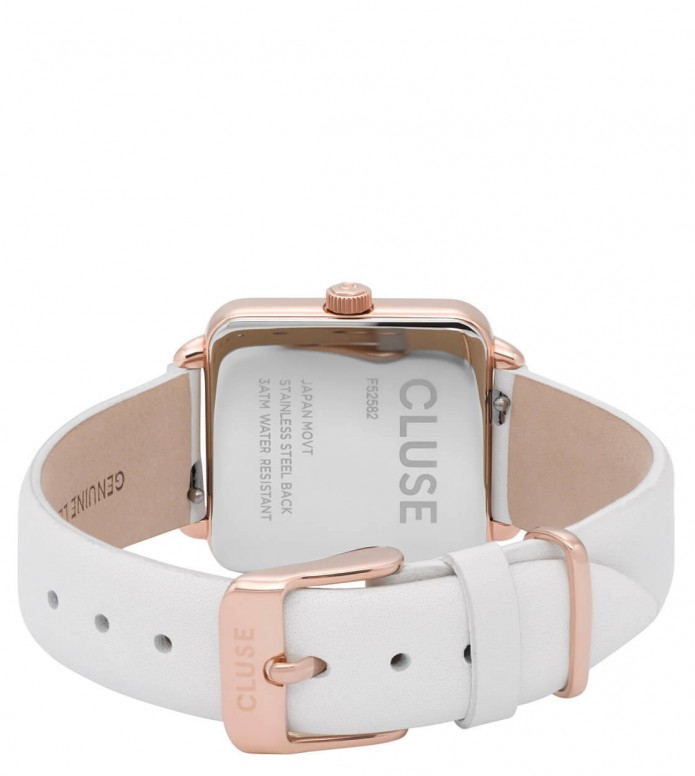 Cluse Cluse Watch La Tetragone white/white rose gold