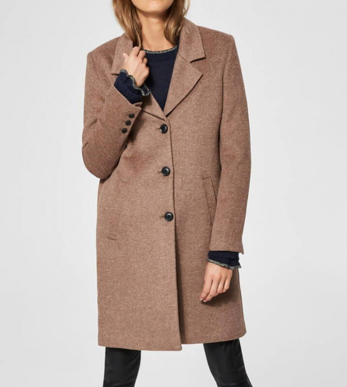 Selected Femme Selected Femme Coat Slfsasja brown deep taupe