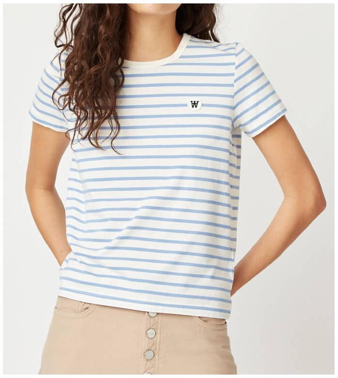Wood Wood Wood Wood W T-Shirt Uma white off/blue stripes