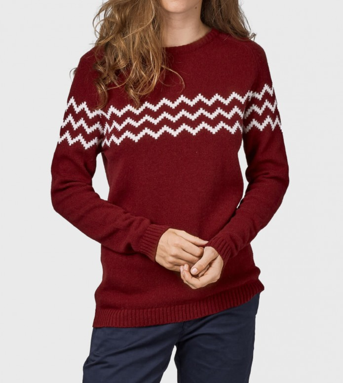 Klitmoller Collective Klitmoller W Knit Cecilie red bordeaux/cream