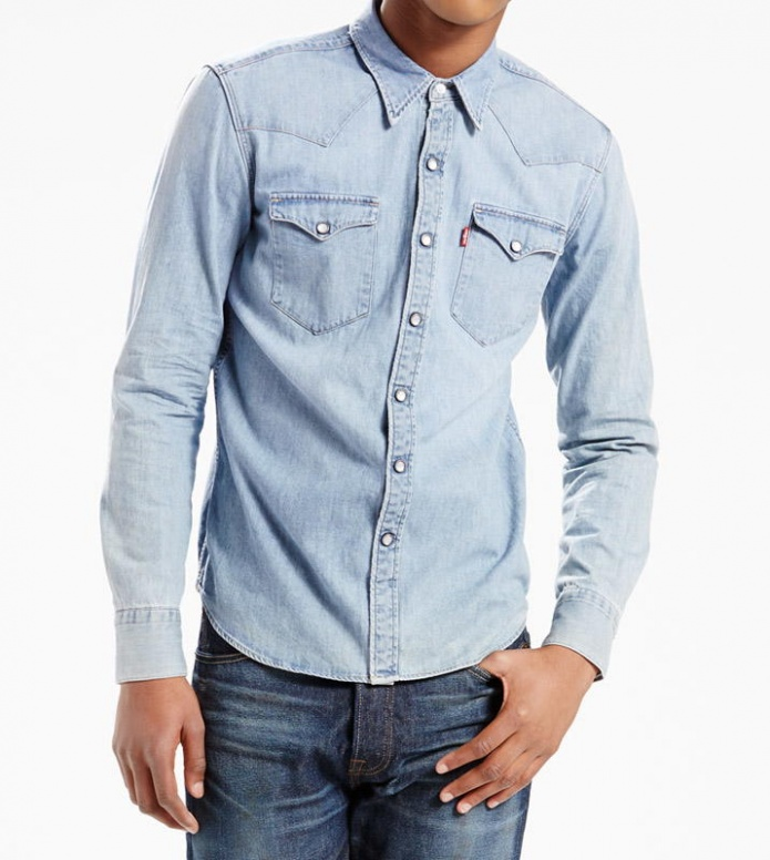 Levis Levis Shirt Brastow Western blue red cast stone