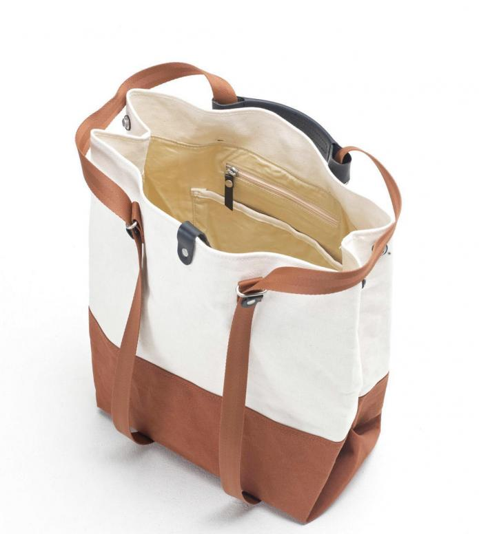 Qwstion Qwstion Bag Shopper organic rust offwhite duotone
