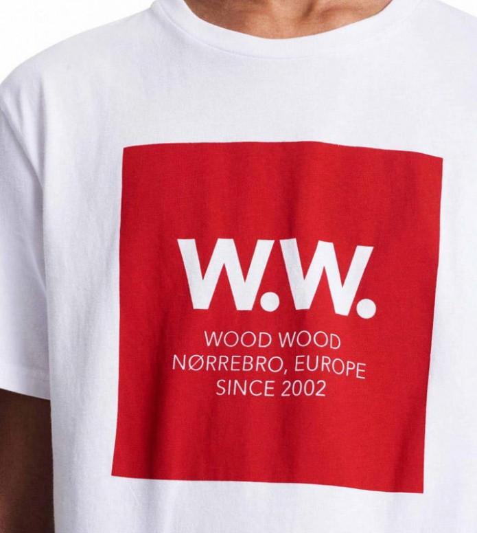 Wood Wood Wood Wood T-Shirt Square II white