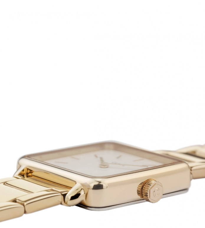 Cluse Cluse Watch La Tetragone 3-Link gold/white pearl