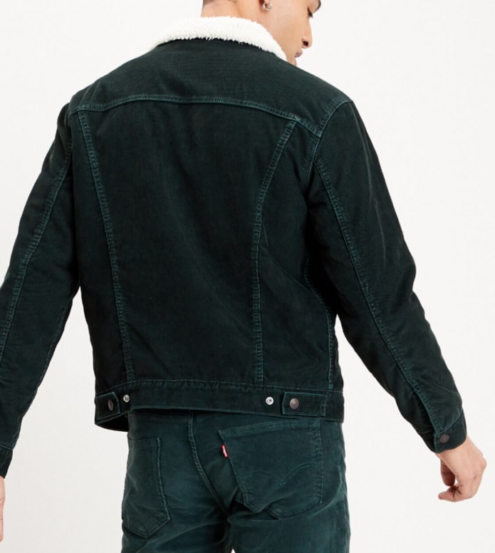 Levis Levis Sherpa Jacket Cord Trucker green scarab