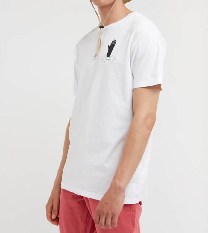 Wood Wood Wood Wood T-Shirt Hand white bright