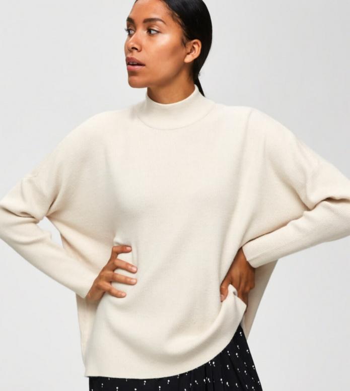 Selected Femme Selected Femme Knit Pullover Slfphilua beige sandshell
