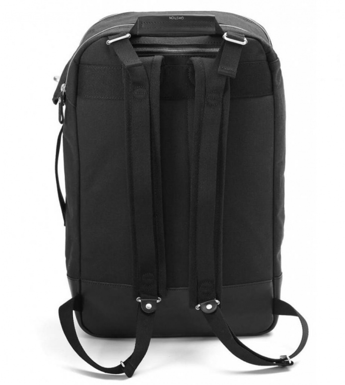 Qwstion Qwstion Backpack black leather canvas