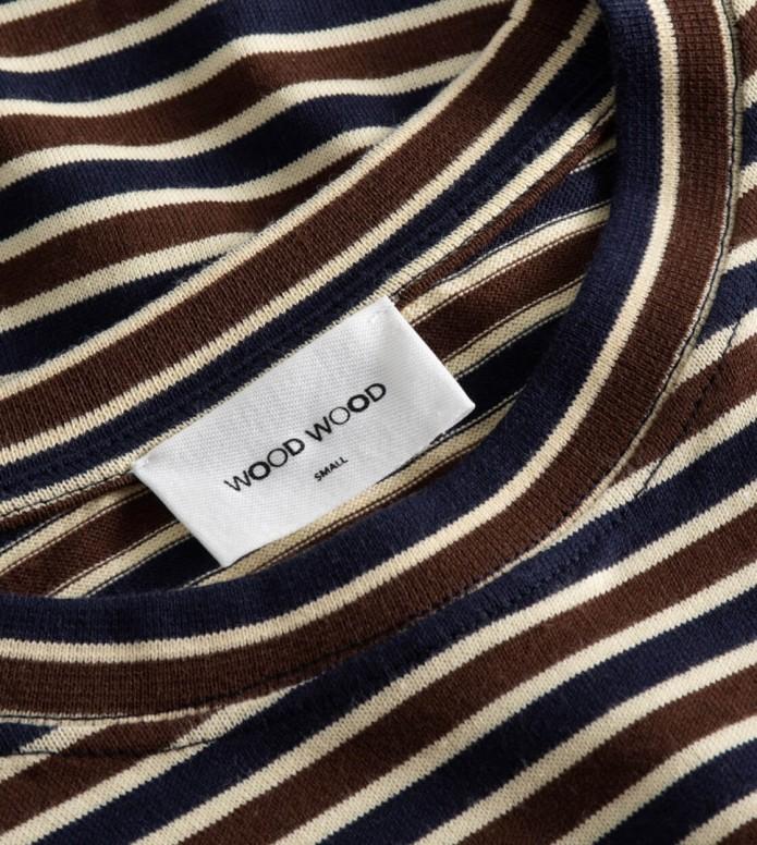 Wood Wood Wood Wood W T-Shirt Alma brown navy stripes